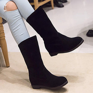 Women's Round Toe Casual Slip-On Boots