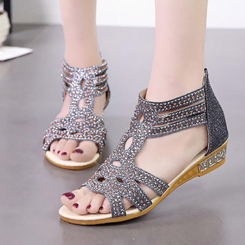 Women PU Sandals Casual Comfort Roman Zipper Shoes