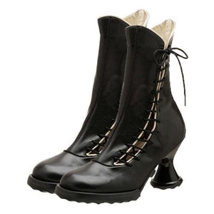 Women Medievil Lace-Up Spool Heel Pu Casual Ankle Boots