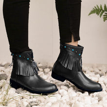 Load image into Gallery viewer, Womens Round Toe Casual Pu Zipper Chunky Heel Tassel Ankle Boots