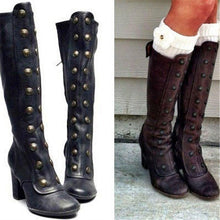 Load image into Gallery viewer, Women Vintage Double-Breasted Mid-Calf Boots
