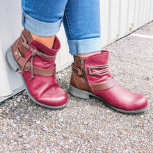Load image into Gallery viewer, Color Block Strappy Boots Fashion Low Heel Artificial Leather Zipper Boots