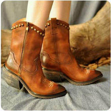 Load image into Gallery viewer, Chunky Heel Artificial Leather Rivet Boots New Fashion Zipper Boots
