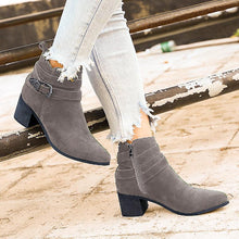 Load image into Gallery viewer, Women's vintage Pu Buckle Fall Block Heel Boots