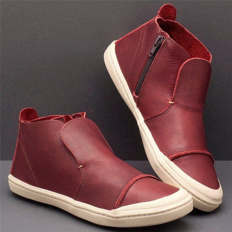 Women Casual High Top Zipper Comfy Flat Sneakers