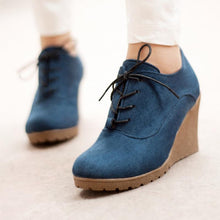 Load image into Gallery viewer, Women's fashion solid suede lace-up wedges