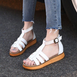 Women PU Plus Size Sandals Casual Comfort Adjustable Buckle Shoes