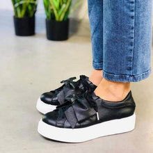 Load image into Gallery viewer, Lace-up Pu Bow Sneakers Womens All Season Sneakers