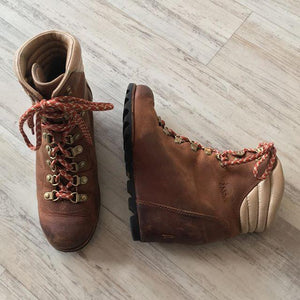 Casual Leather Wedge Heel Boots