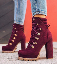 Load image into Gallery viewer, Suede Chunky Heel Ankle Boots