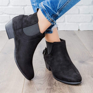 Casual Faux Suede All Season Side Buckle Ankle Booties