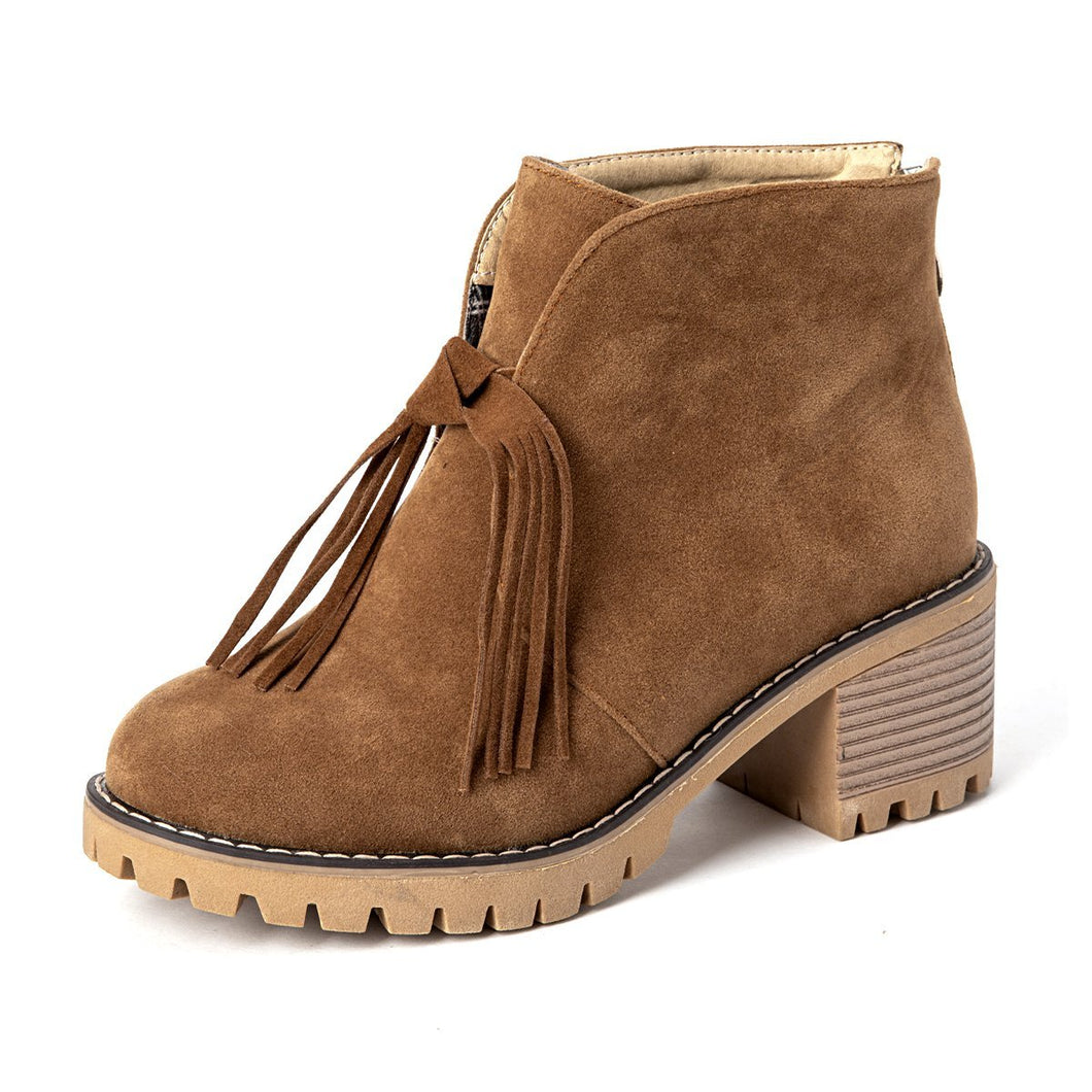 Women Tassel Winter  Slip-On Suede Ankle Boots
