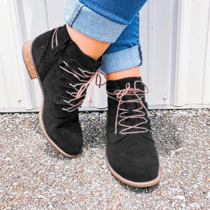 Faux Suede Low Heel Lace Up Boots All Season Shoes With Zipper