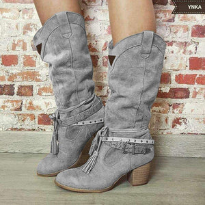 Mid Calf Fringe Chunky Heel Adjustable Buckle Artificial Leather Boots