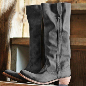 Chunky Heel Knee-High Zipper Artificial Leather Tall Boots