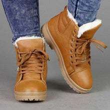 Load image into Gallery viewer, Low Heel Lace-Up Pu Leather Warm Fur Lined Winter Snow Boots
