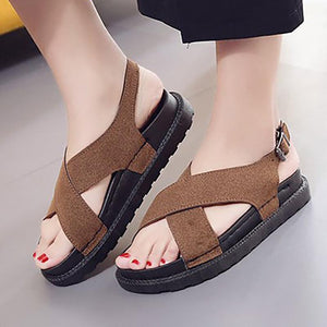 Women Nubuck Sandals Casual Adjustable Buckle Shoes