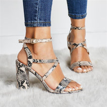 Load image into Gallery viewer, Fashion snake pattern hollow heel sandals
