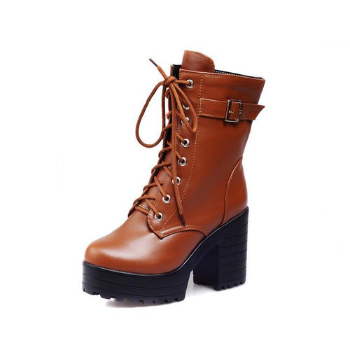 Women Shoes Winter Retro Round Head Thick Heel Lace Up Platform Short Boots