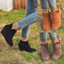 Load image into Gallery viewer, Wedge Heel Side Zipper All Season Ankle Boots