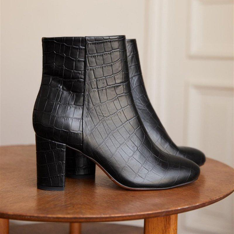 Women's round head zipper chunky ankle boots