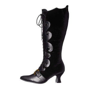 Artificial Leather Lace-Up Spool Heel Knee-High Boots