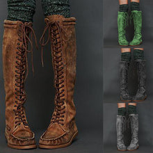 Load image into Gallery viewer, Womens Flat Heel Lace-Up Artificial Leather Knee-High Boots