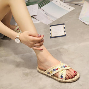 Women Casual Comfort Slippers Peep Toe Shoes