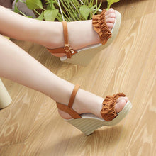 Load image into Gallery viewer, Wome's Ruffles Wedge Heel Peep Toe Sandals