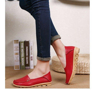 Flat Heel Artificial Leather Loafers& Flats