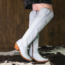Load image into Gallery viewer, Womens Artificial Leather Chunky Heel Knee-High Winter Boots