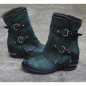Dark Green Winter Daily Split Joint Chunky Heel Boots