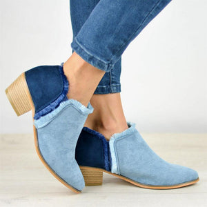Plus Size Comfy Outside Denim Ankle Booties