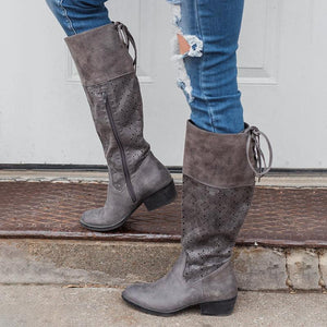 Plus Size Vintage Leather Zipper Knee Boots