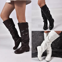 Load image into Gallery viewer, Plus Size Knee Height Leather Boots