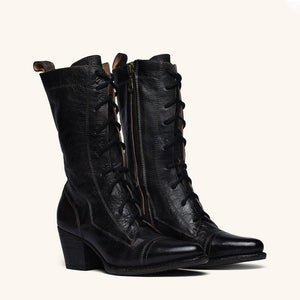 Plus Size Viantage Leather Lace Up Chunky Heel Boots