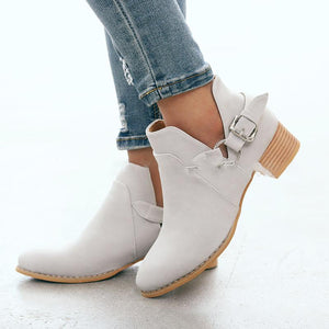 Plus Size Side Cut Chunky Heel Ankle Booties