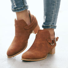 Load image into Gallery viewer, Plus Size Side Cut Chunky Heel Ankle Booties