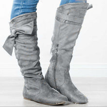 Load image into Gallery viewer, Plus Size Suede Bowknot Flat Heel Zipper Knee Boots