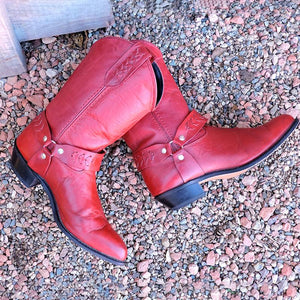 Plus Size Vintage Leather Slip On Chunky Heel Ankle Booties