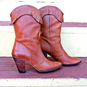 Plus Size Tassel Viantage Leather Chunky Heel Ankle Booties