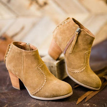 Load image into Gallery viewer, Plus Size Nubuck Side Zipper Chunky Heel Ankle Booties