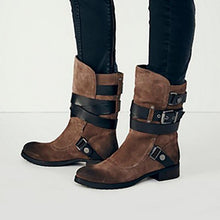 Load image into Gallery viewer, Plus Size Stylish Suede Chunky Heel Mid Boots