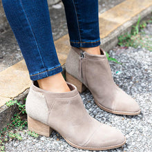 Load image into Gallery viewer, Plus Size Suede Chunky Heel Side Zipper Ankle Boots