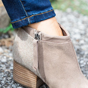 Plus Size Suede Chunky Heel Side Zipper Ankle Boots