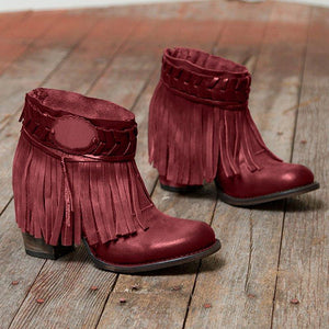 Plus Size Tassel Boho Leather Chunky Heel Ankle Boots