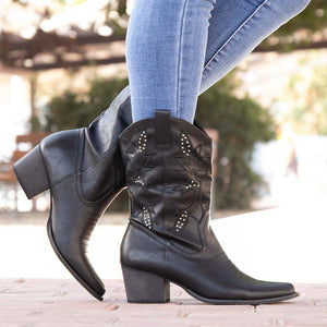 Plus Size Western Boots Leather Chunky Heel Mid Boots