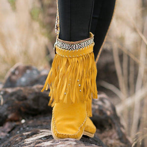 Plus Size Tassel Boho Leather Flat Heel Ankle Boots