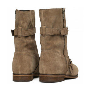 Plus Size Suede Boho Chunky Mid Boots