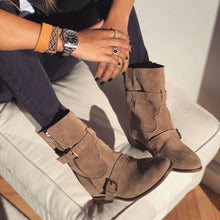 Load image into Gallery viewer, Plus Size Suede Boho Chunky Mid Boots